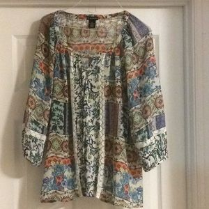 Multi colored blouse with puffy long sleeves